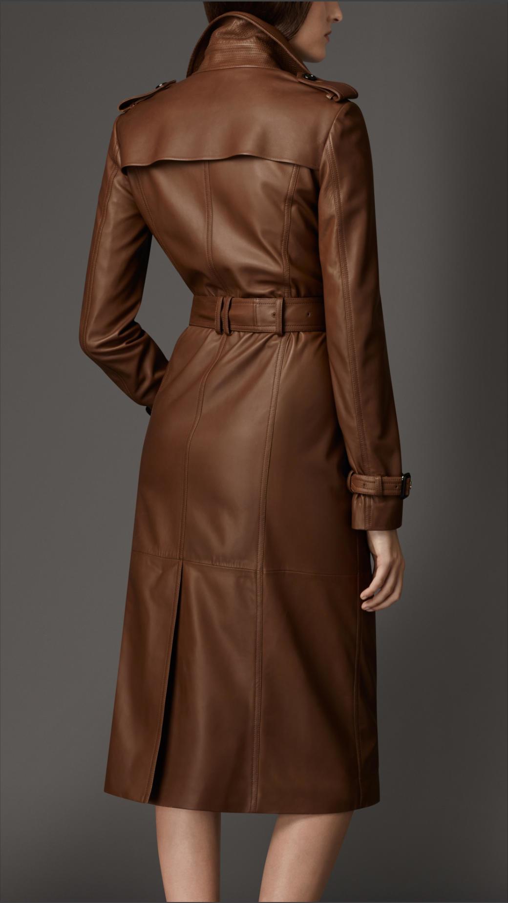 Brown Leather Trench Coat Womens Xm03 Advancedmassagebysara