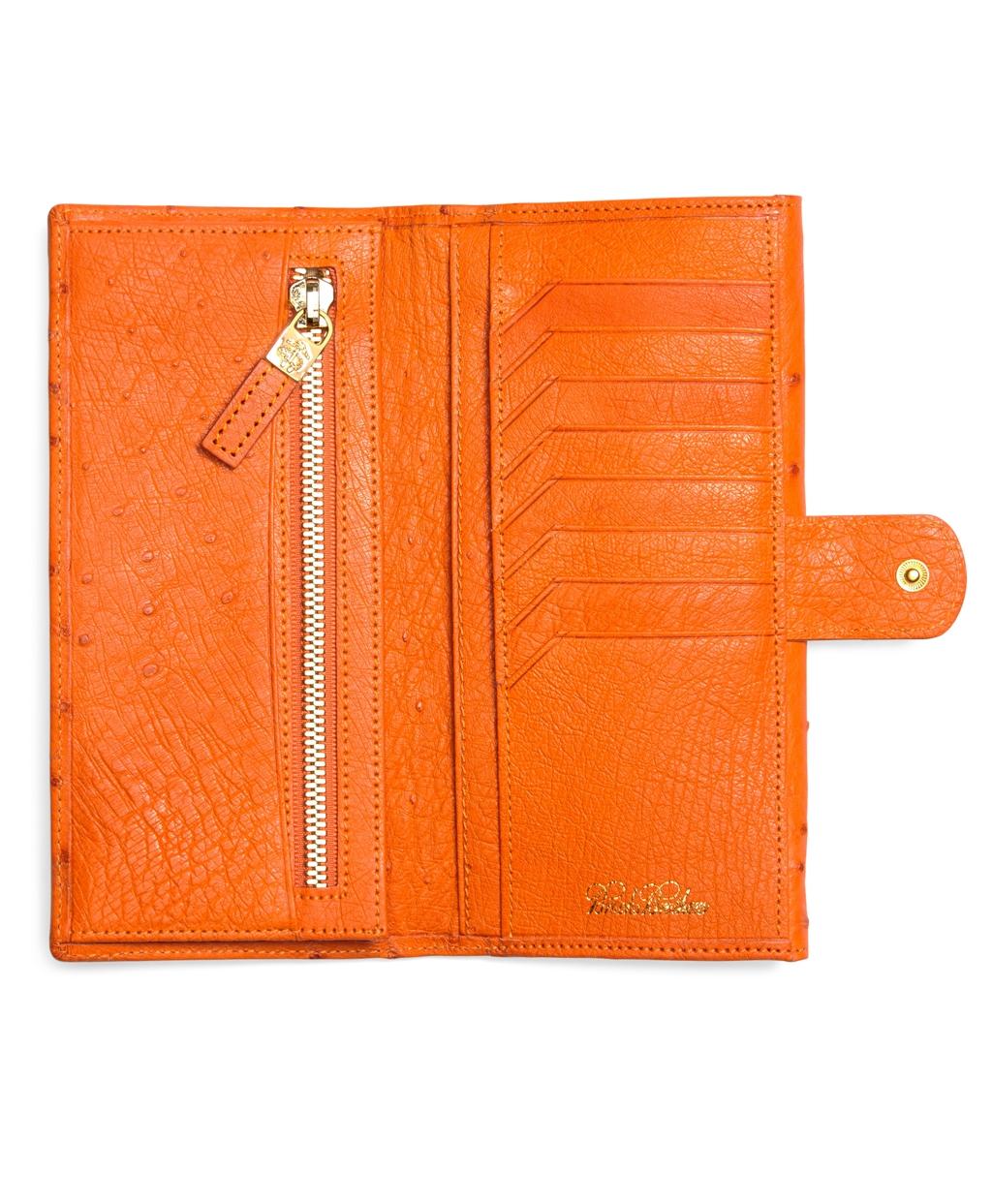 Lyst Brooks Brothers Ostrich Wallet In Orange