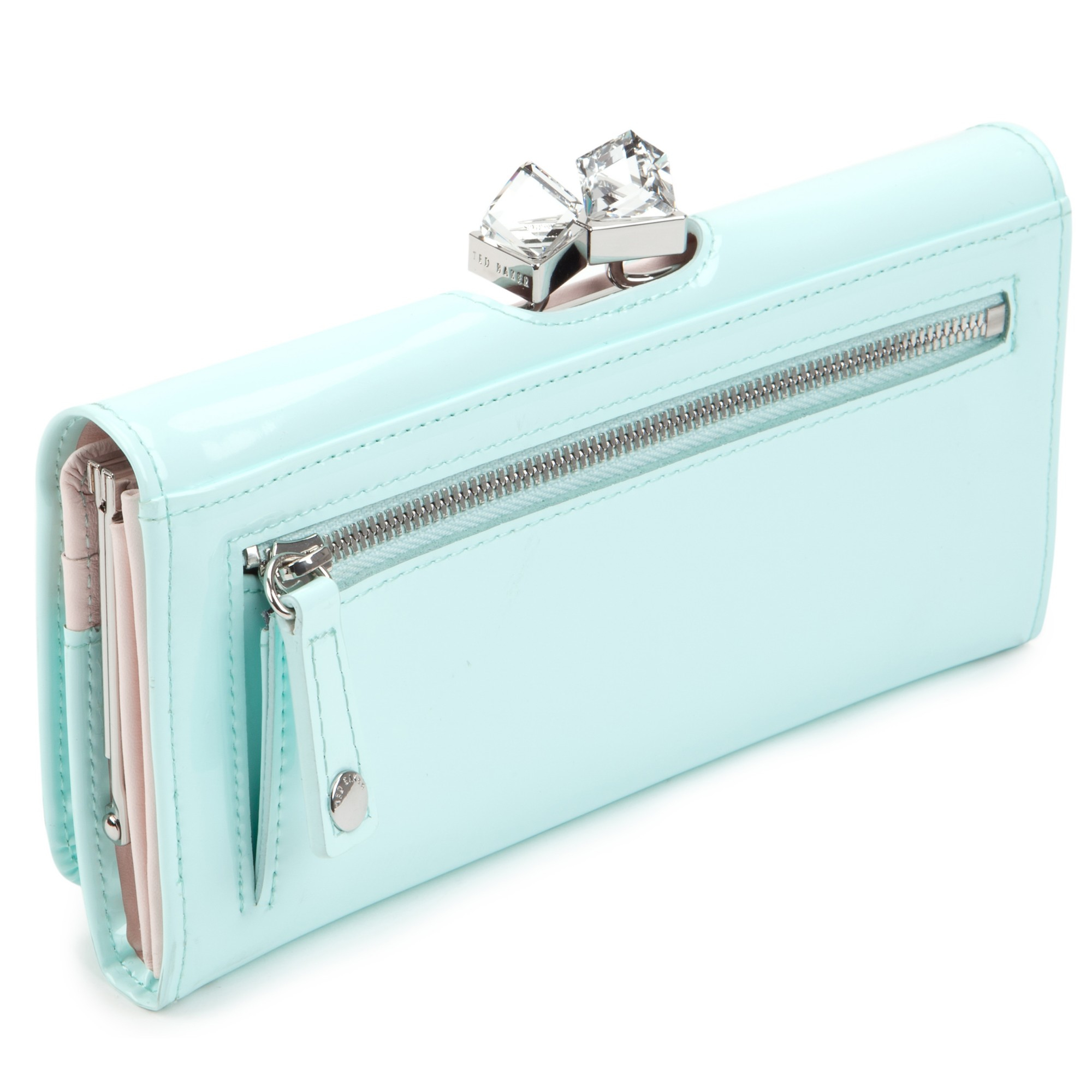863ef49810236 Ted Baker Missti Patent Leather Crystal Frame Matinee Purse in Blue ...