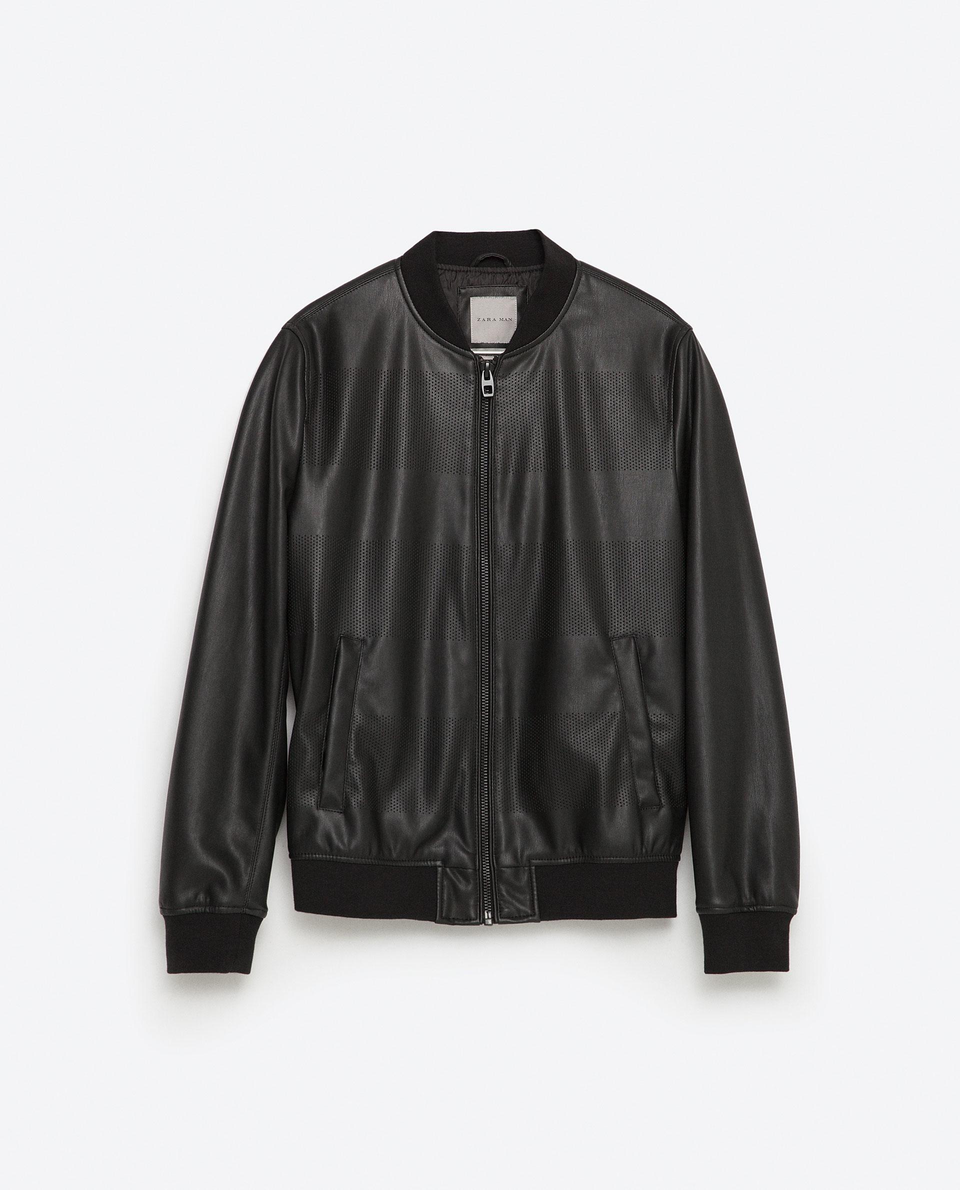 Zara Faux Leather Bomber Jacket in Black for Men   Lyst