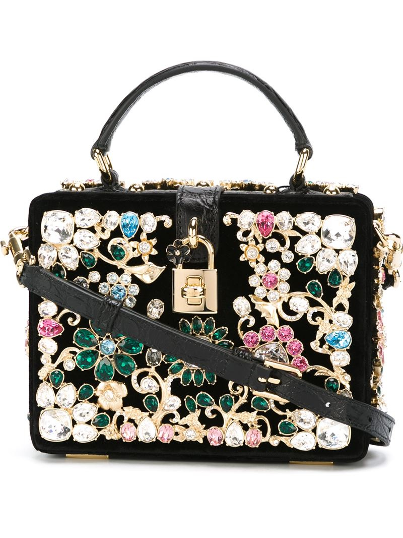 7dfff3534a1c Lyst - Dolce   Gabbana Embellished Leather Cross-Body Bag in Black