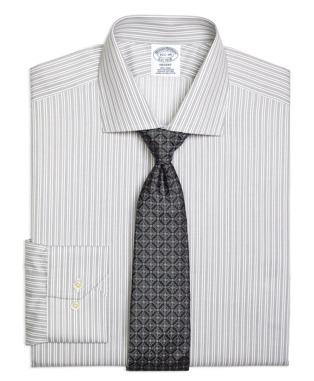 Brooks Brothers Non Iron Regent Fit Stripe Dress Shirt In