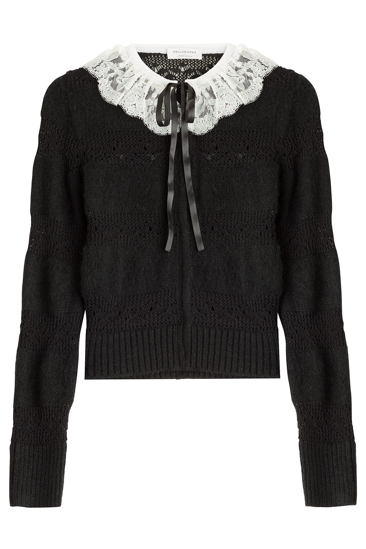 Philosophy di lorenzo serafini Knit Cardigan With Lace Collar ...