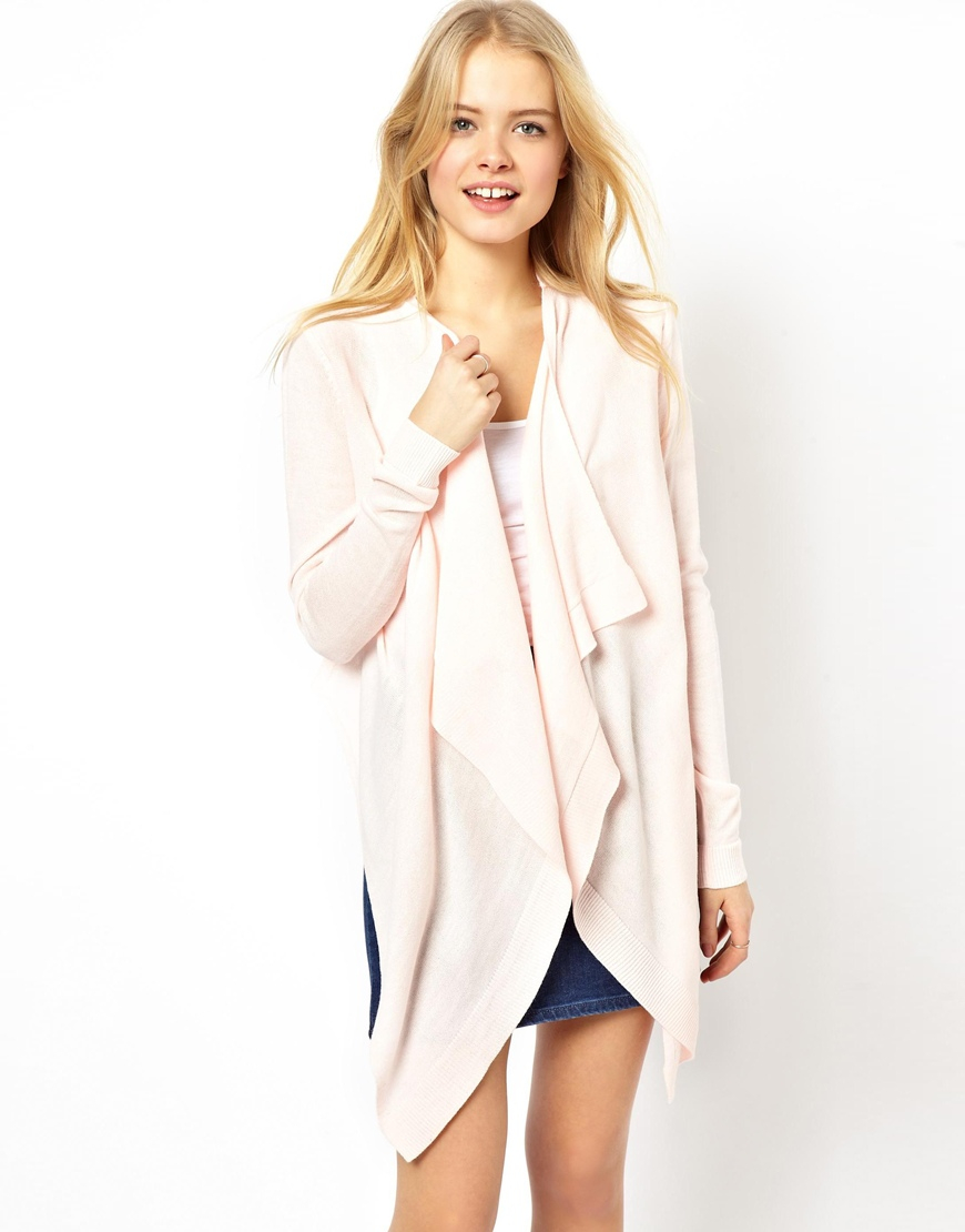 Asos Waterfall Cardigan With Woven Back in Pink | Lyst