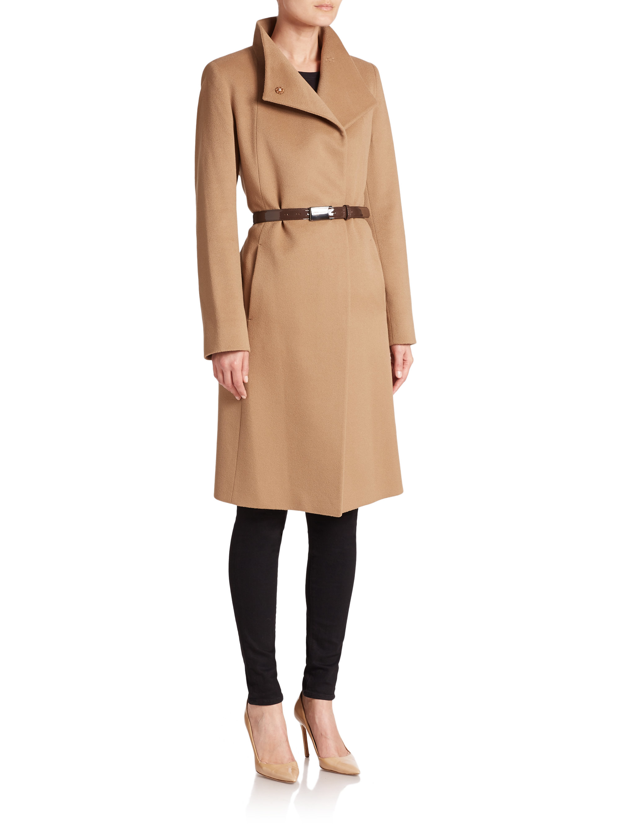 Cinzia rocca Belted Cashmere Coat in Natural | Lyst