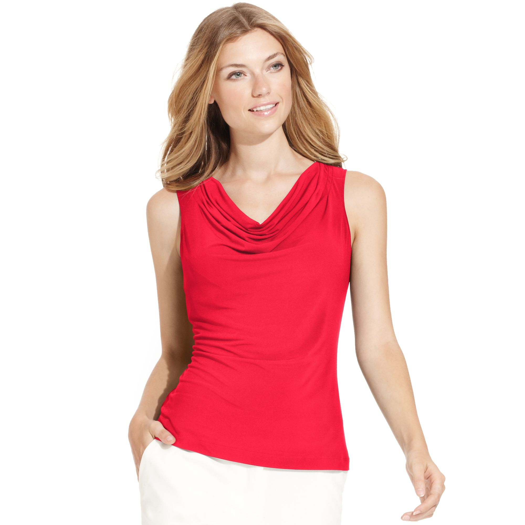 2a4d8767ccdb9 Lyst - Calvin Klein Sleeveless Cowlneck Tank Top in Red