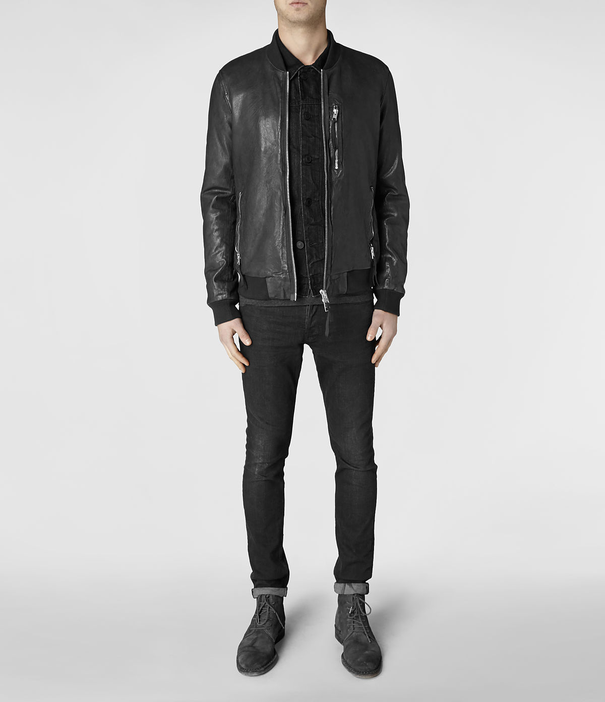 Lyst Allsaints Momoto Leather Bomber Jacket In Gray For Men