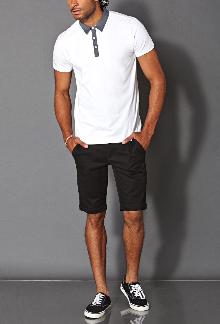 Forever 21 Cotton-Blend Chino Shorts in Black for Men | Lyst