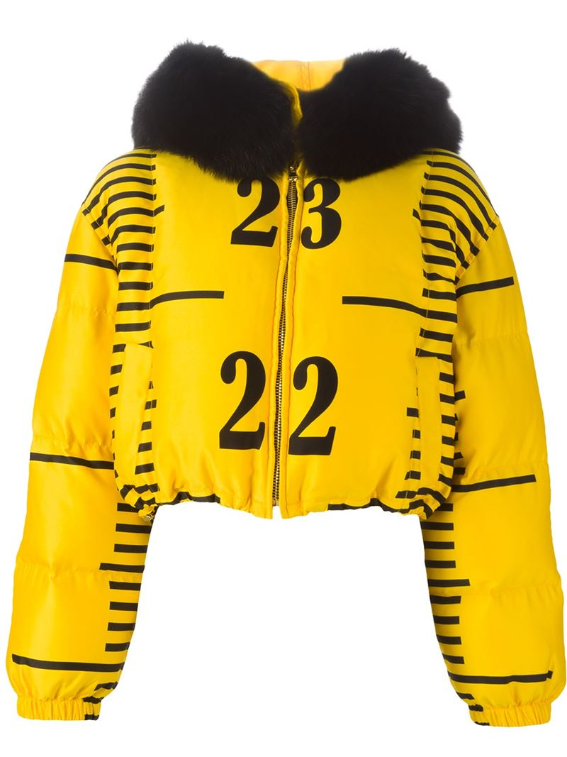 Moschino Tape Measure Bomber Jacket In Yellow Lyst