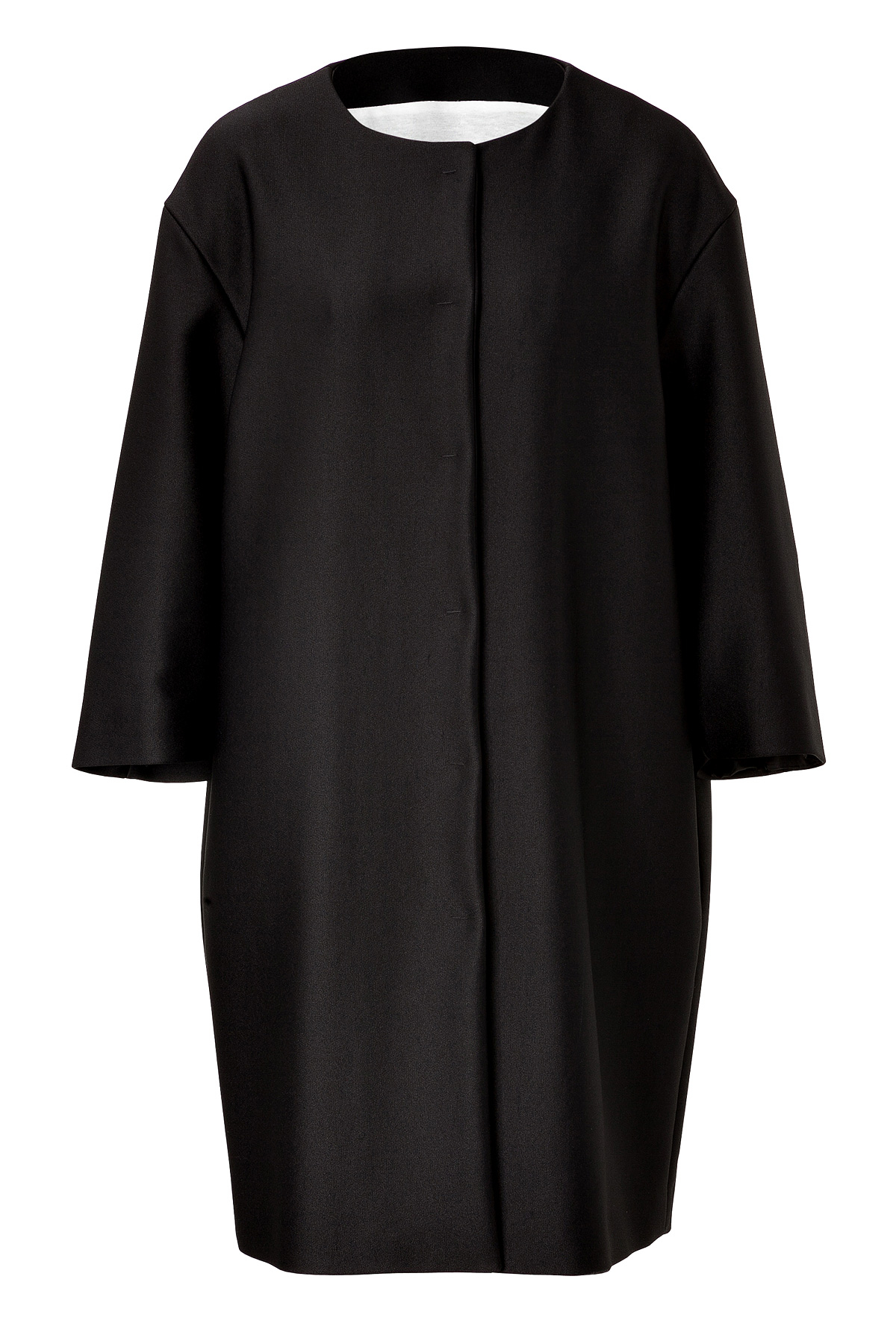Moschino Collarless Coat - Black in Black | Lyst