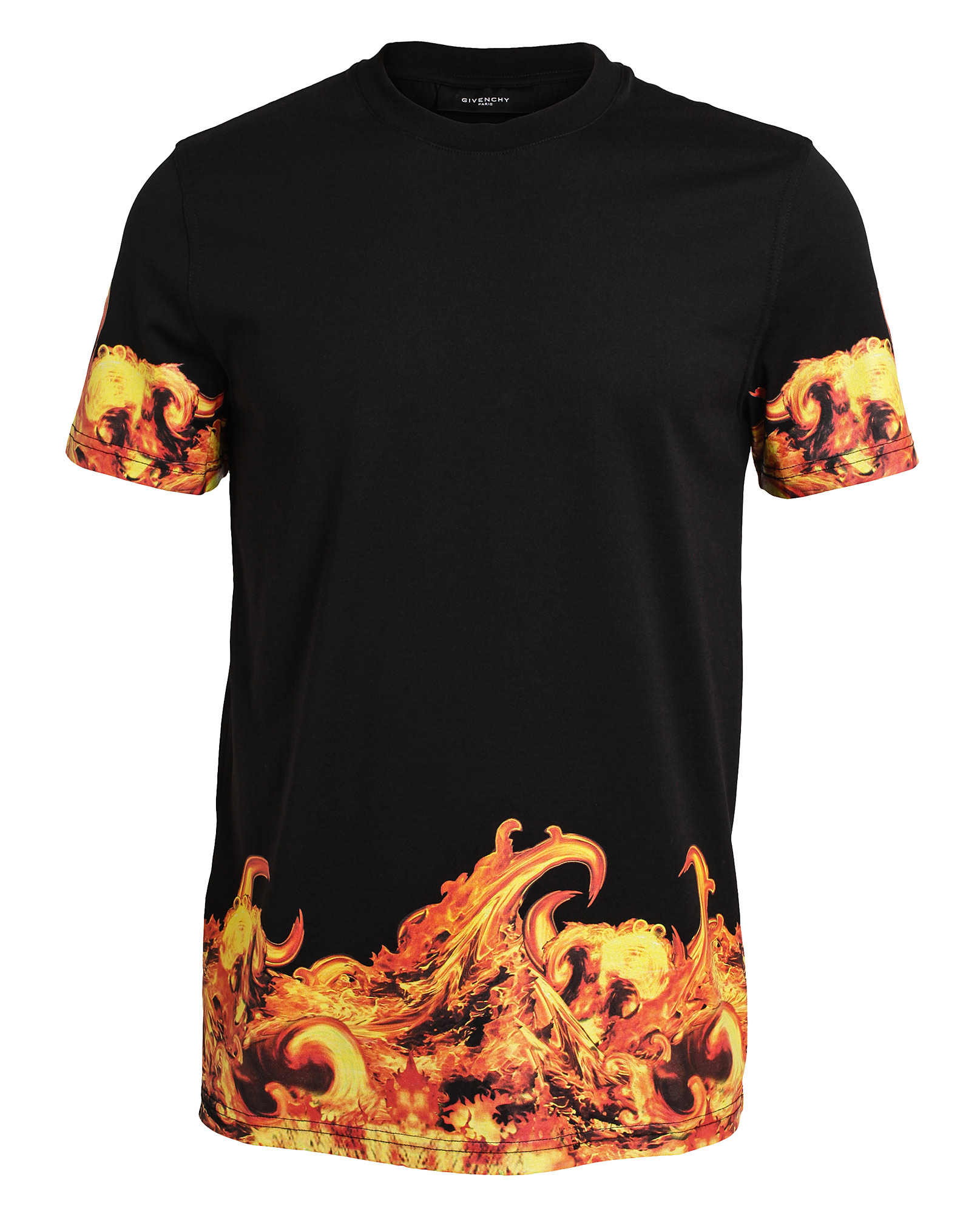Givenchy flame printed cotton tshirt in black for men lyst for Where to print shirts