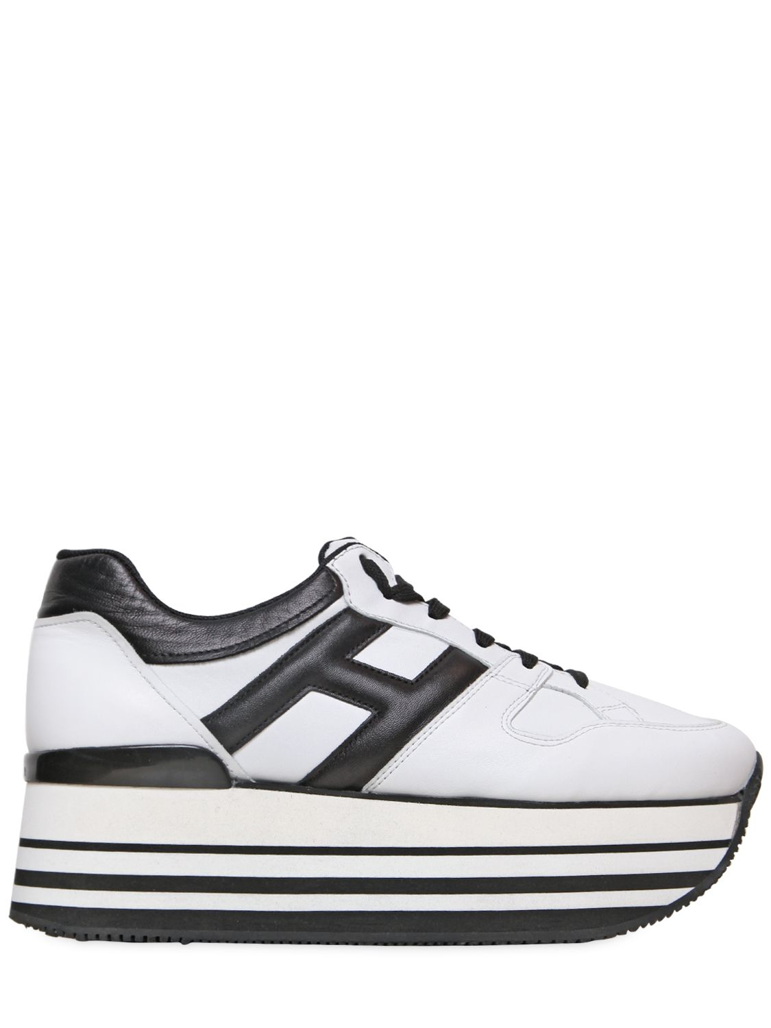 57c58a9e796 Lyst - Hogan 70mm Sportivo Leather Platform Sneakers in White