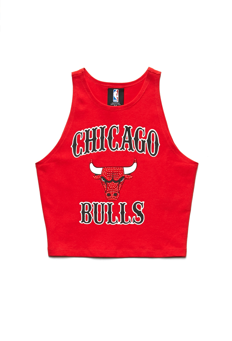 Lyst - Forever 21 Chicago Bulls Crop Top in Red 76cb6499f9