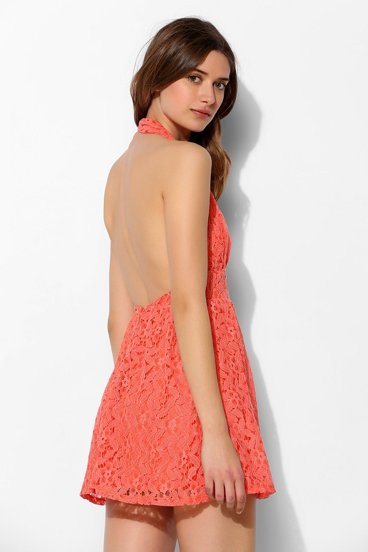 Pins and needles Lace Fit Flare Halter Dress in Orange