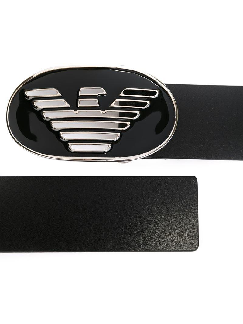 Emporio Armani Logo Plaque Belt In Black For Men Lyst