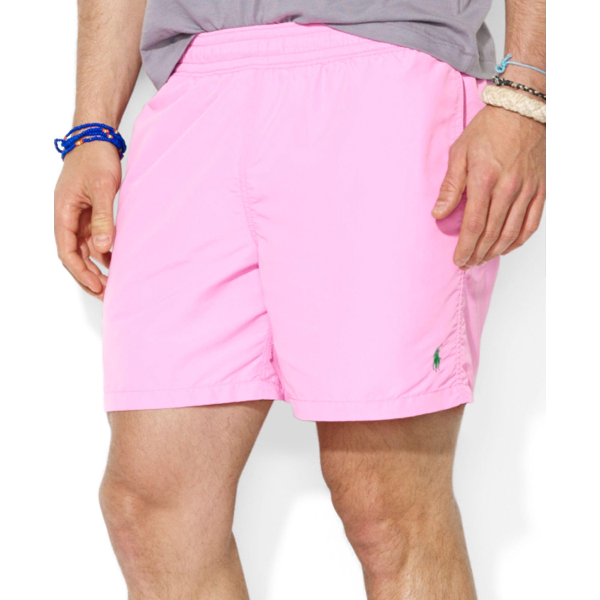 8b86910234 Polo Ralph Lauren Polo Hawaiian Solid Swim Boxer in Pink for Men - Lyst