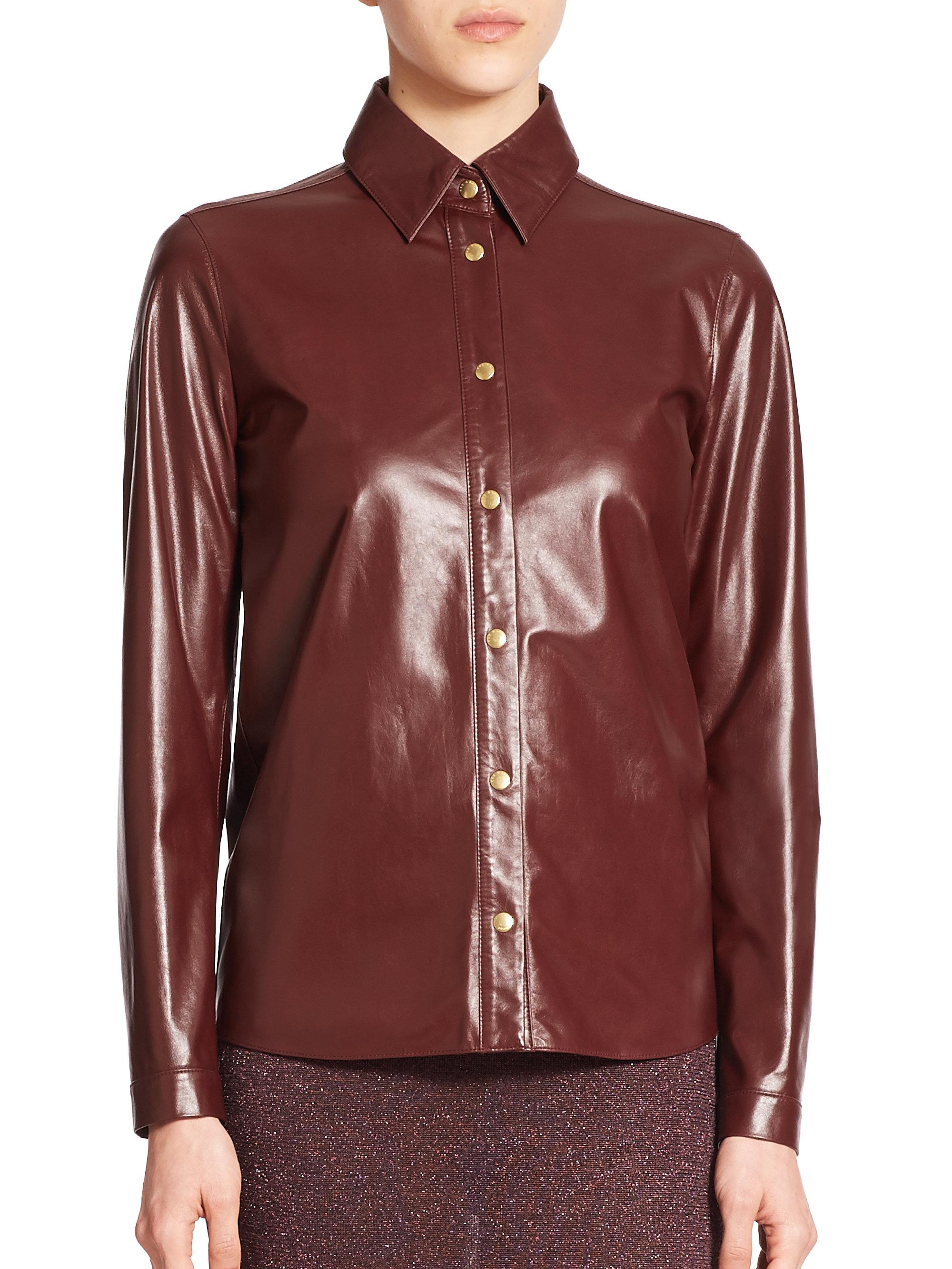 Lyst rag bone faye leather shirt in brown for Rag bone shirt