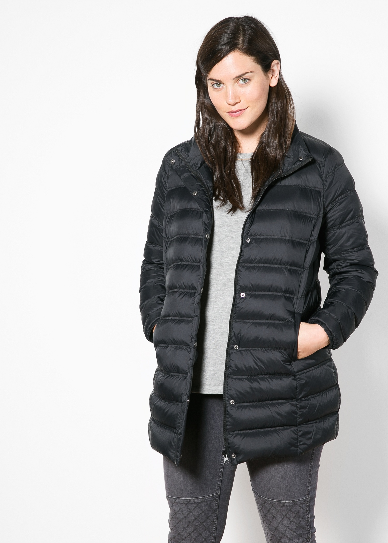 Violeta by mango Ultra-Light Feather-Down Coat in Black | Lyst