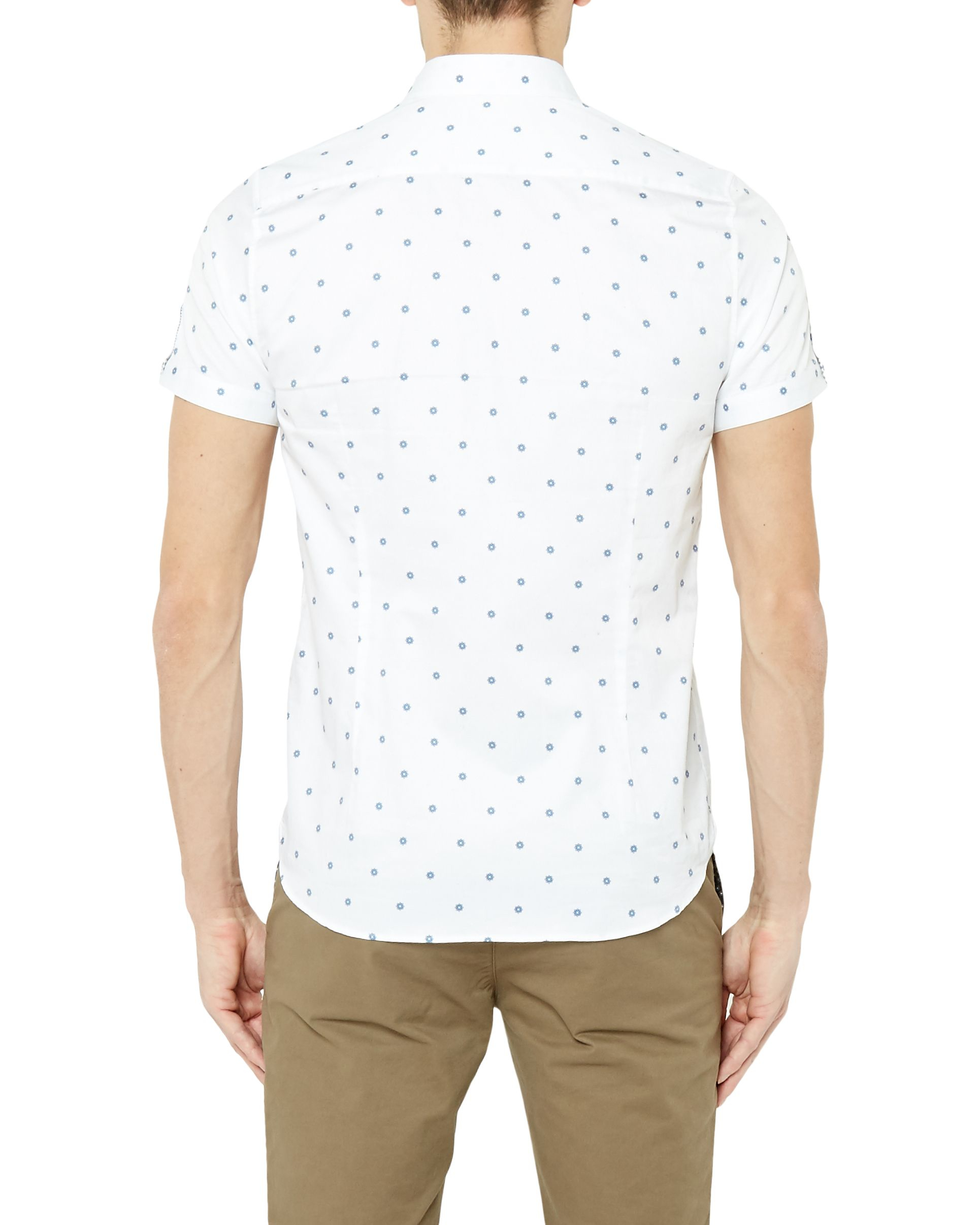 Ted baker mydance spotted floral cotton shirt in white for for Ted baker floral shirt