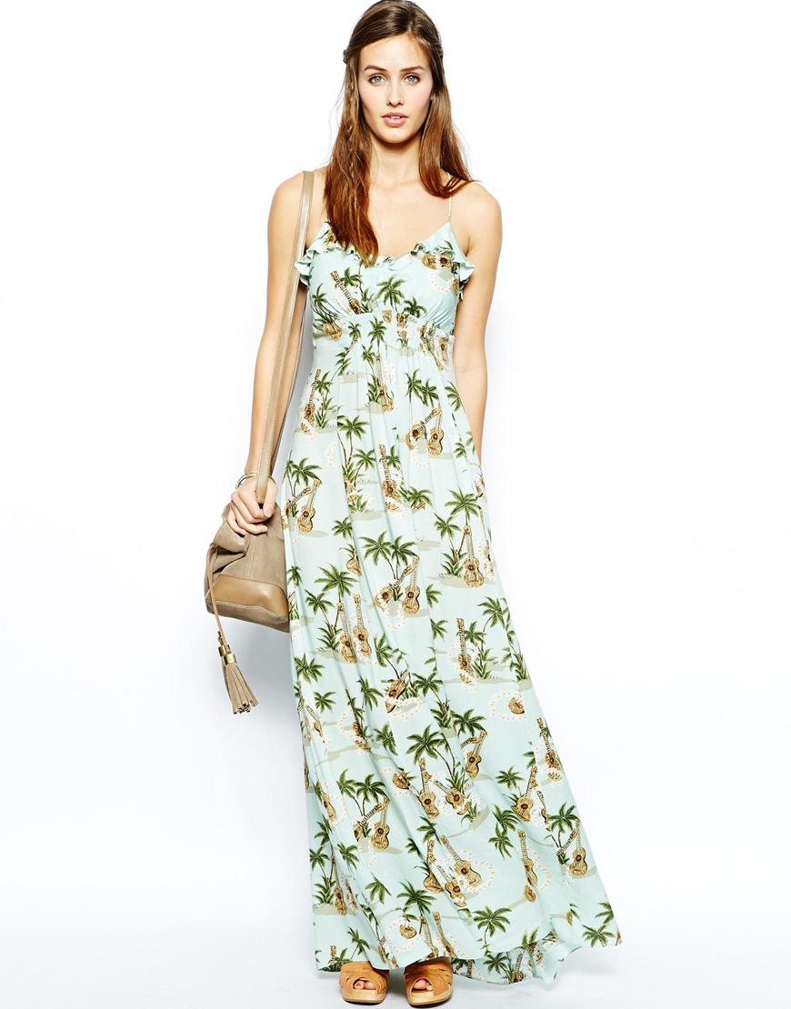 676f37b190d2 Traffic People Palm Guitar Print Maxi Dress in Green - Lyst