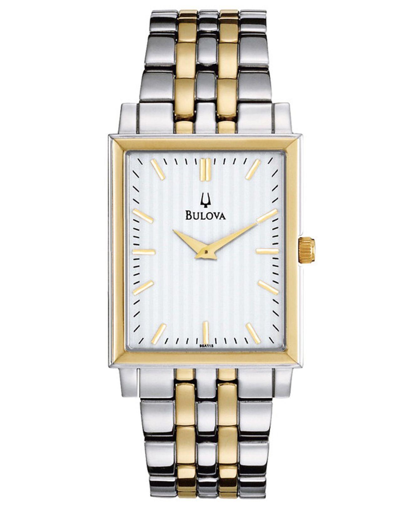 1a1b3c5674a6 Lyst - Bulova Men S Two Tone Stainless Steel Bracelet Watch 29Mm ...