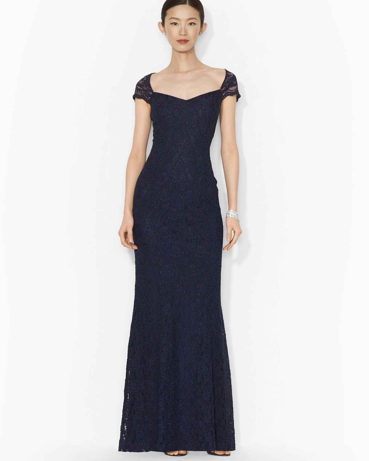 Lyst - Ralph Lauren Lauren Gown Cap Sleeve Lace in Blue