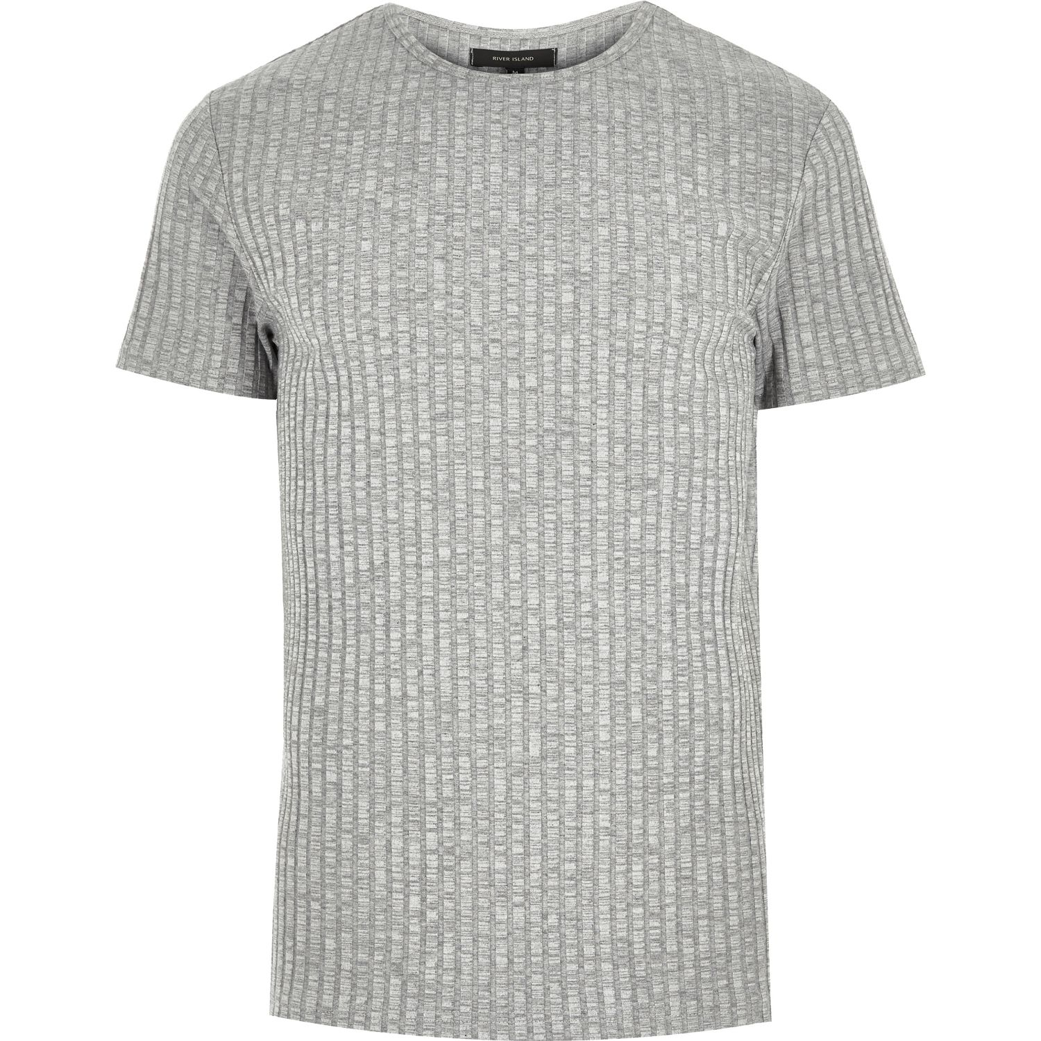 Lyst river island light grey chunky ribbed t shirt in for Mens ribbed t shirts