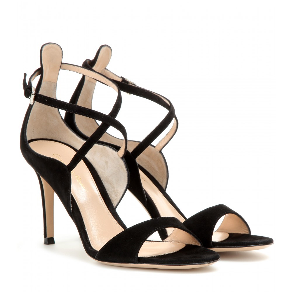 Lyst Gianvito Rossi Suede Curved Sandals In Black