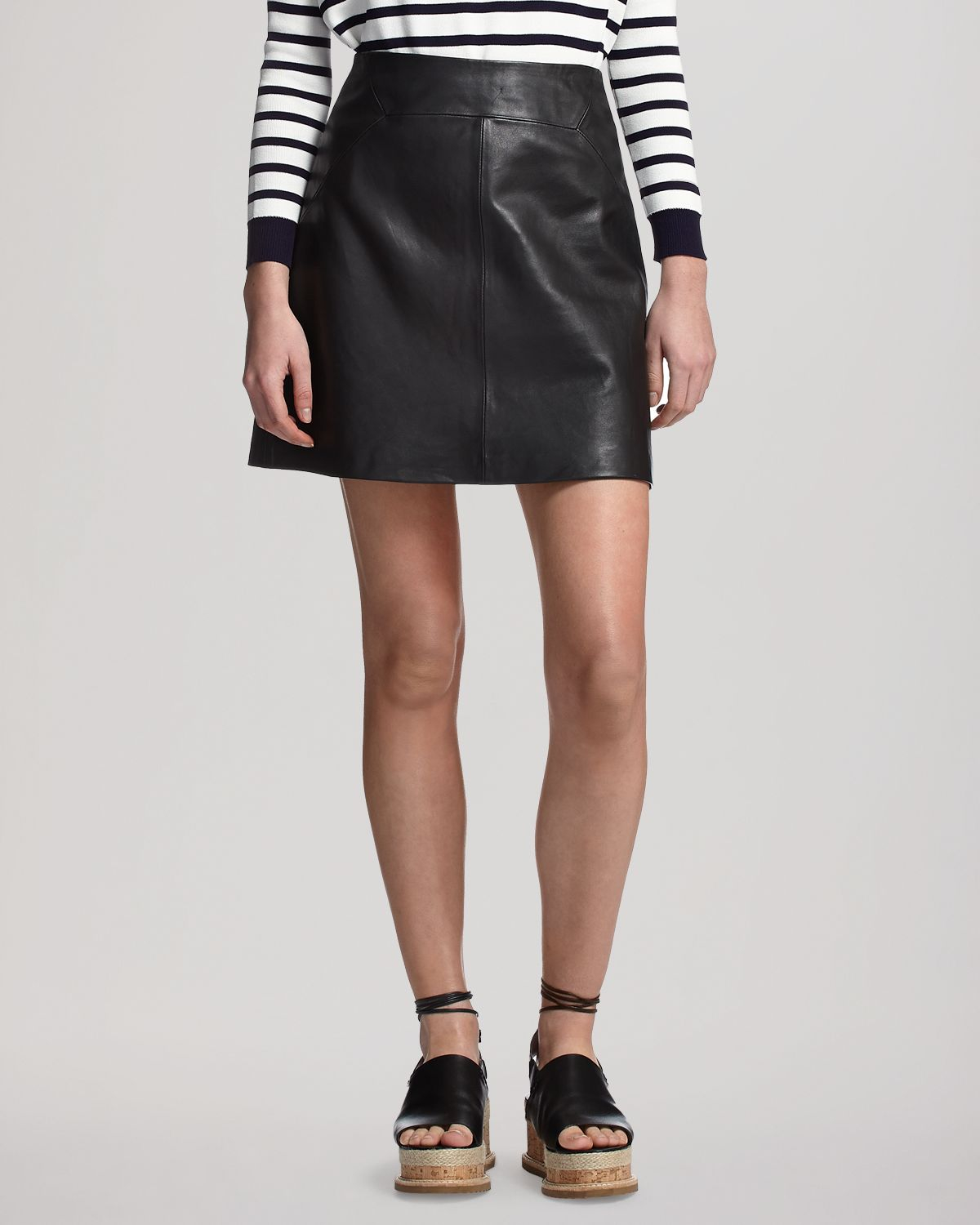 whistles skirt leather mini in black lyst