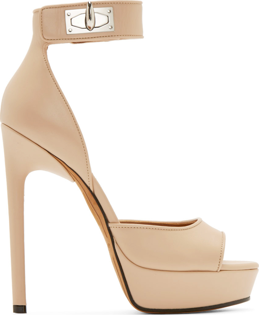 029e37faa9b Givenchy Beige Leather Sharklock Clara Platform Sandals in Natural ...