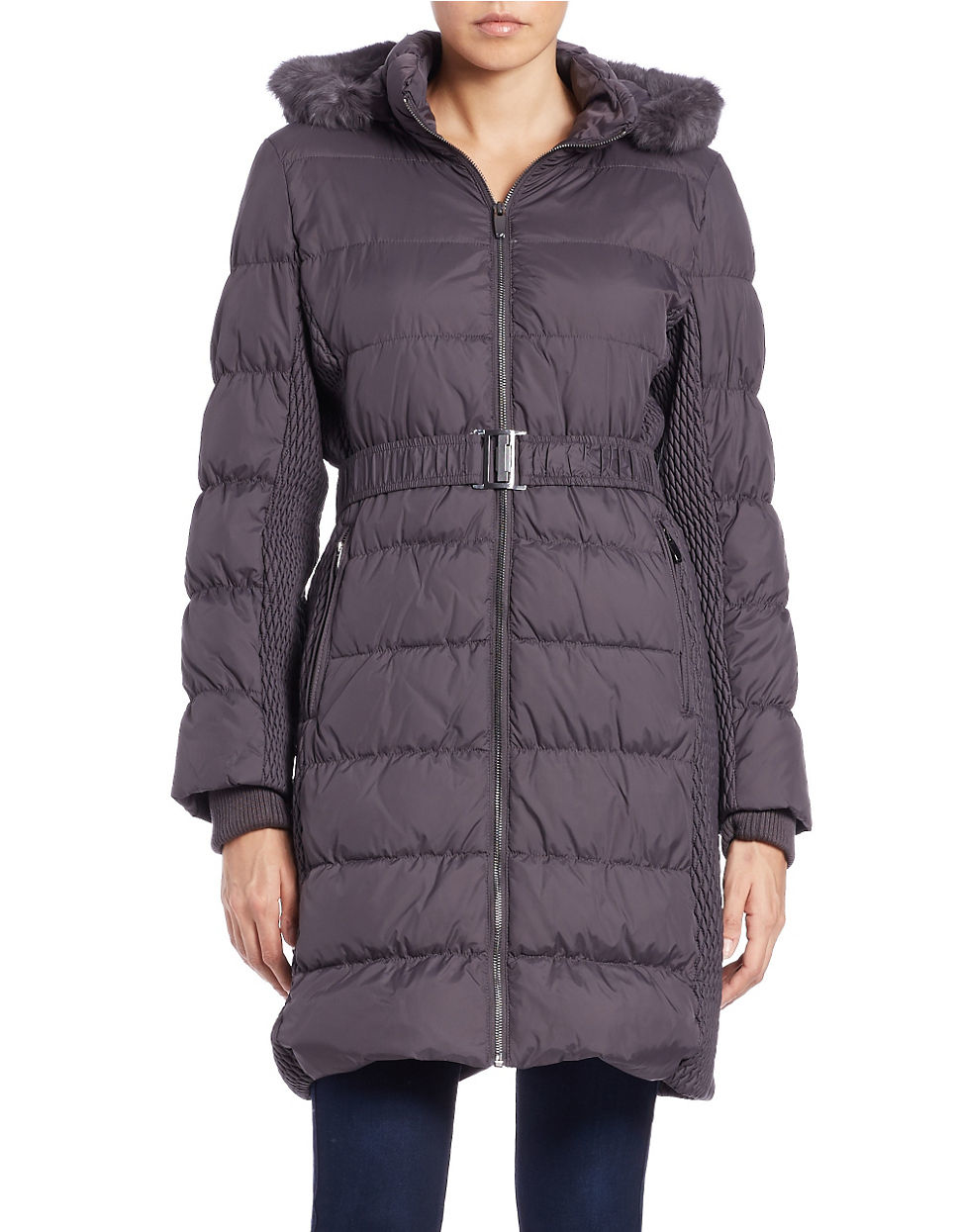 Lyst Via Spiga Rabbit Fur Trimmed Quilted Puffer Coat In