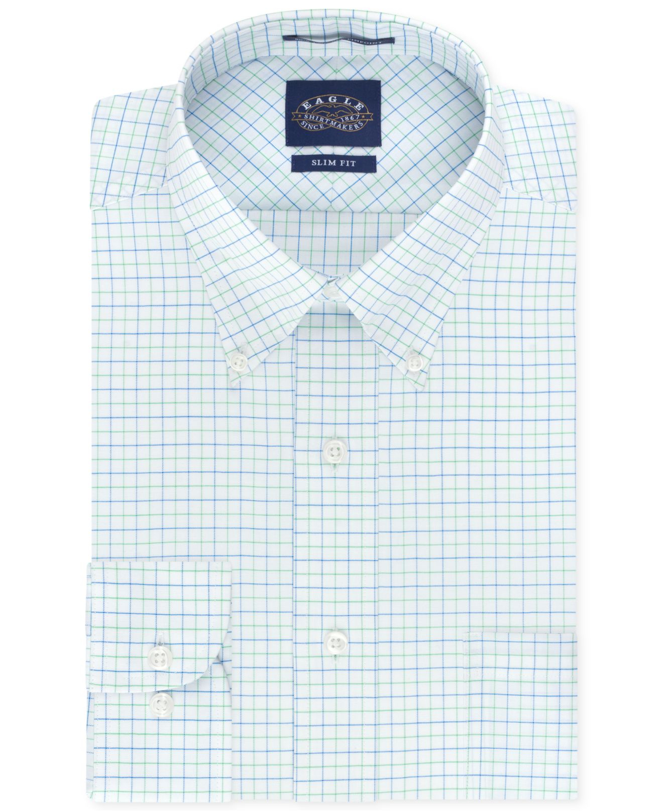 Lyst eagle slim fit non iron blue and green tattersal for No iron slim fit dress shirts