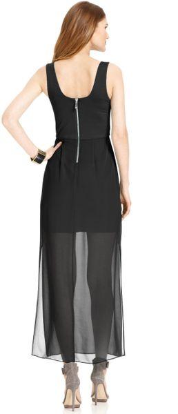 vince camuto sleeveless sheer skirt maxi dress in black lyst
