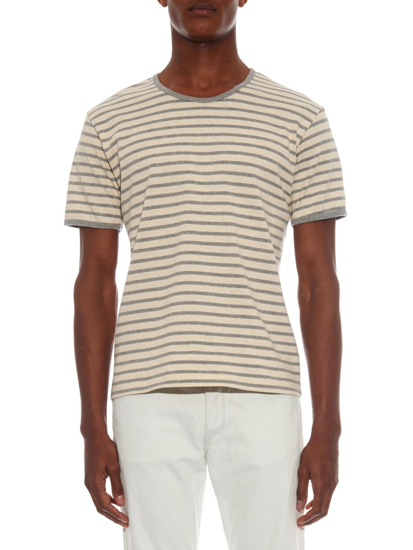 Thaddeus o 39 neil striped cotton t shirt in gray for men lyst for Grey striped t shirt