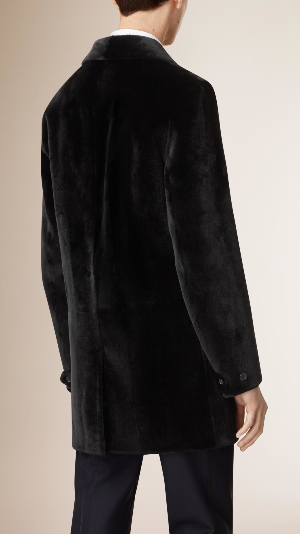 Burberry Mink Car Coat in Black for Men | Lyst