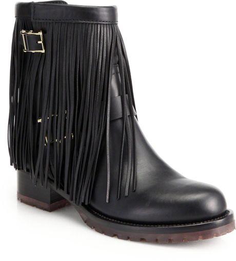 valentino moto fringe leather biker ankle boots in black