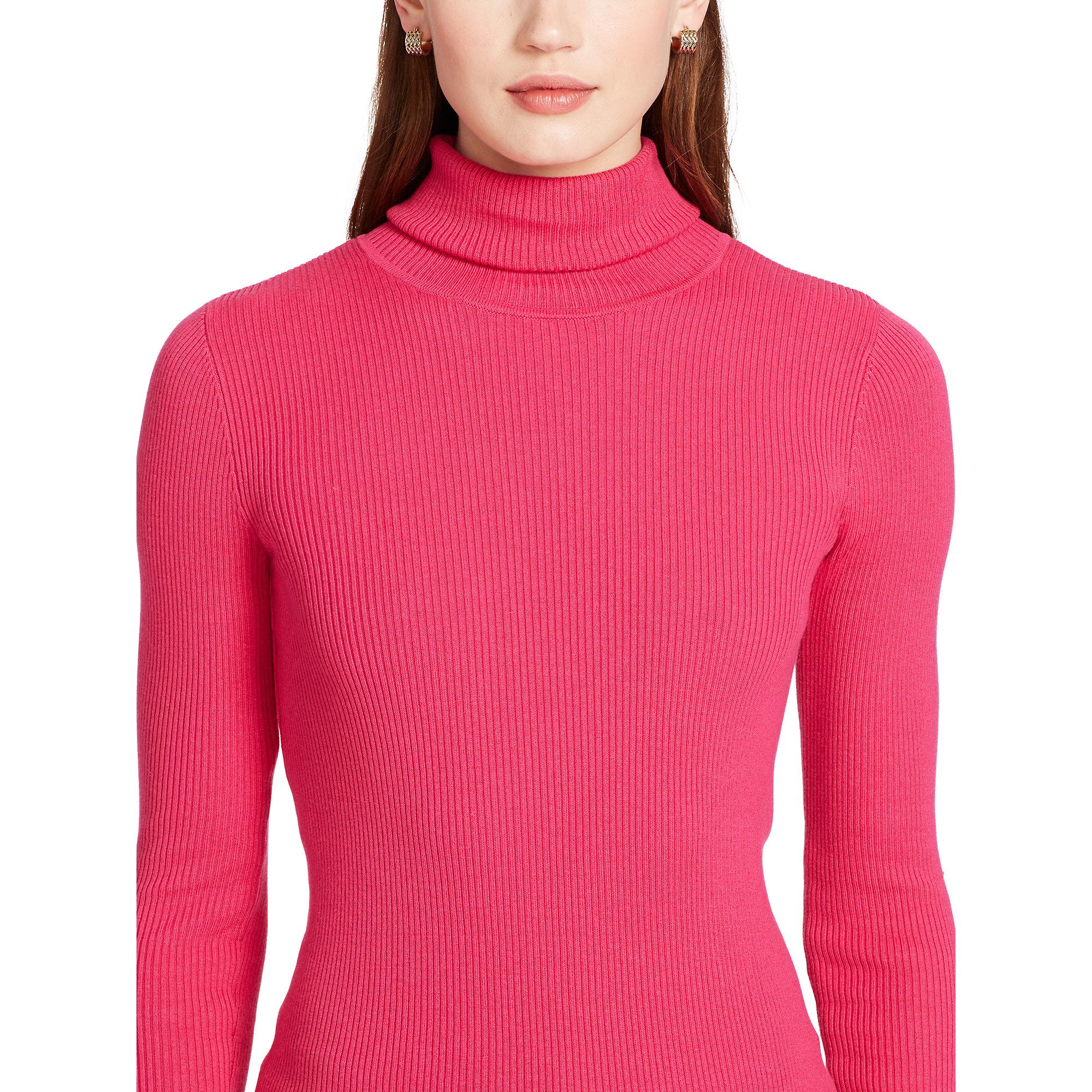 Lyst Ralph Lauren Ribbed Turtleneck Sweater In Pink