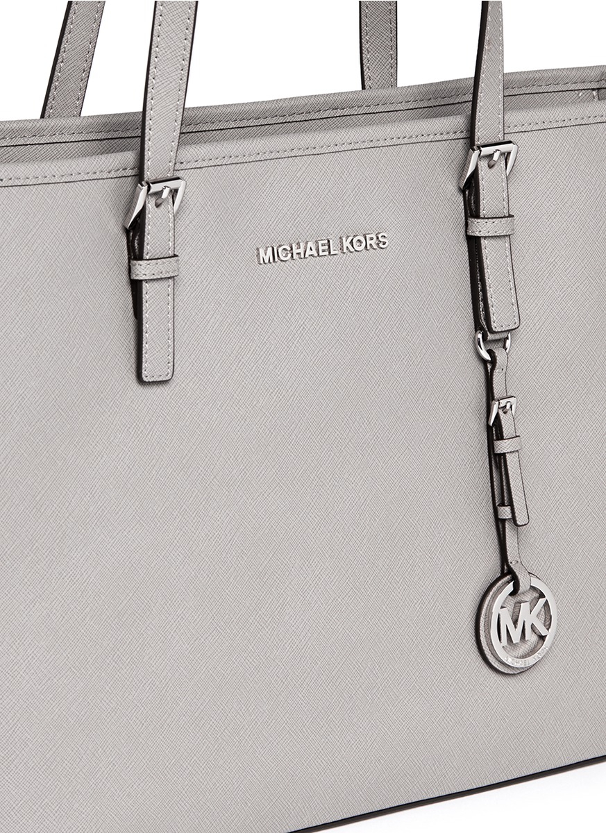 30e6ba2a8dedfd Michael Kors 'jet Set Travel' Saffiano Leather Top Zip Tote in Gray ...