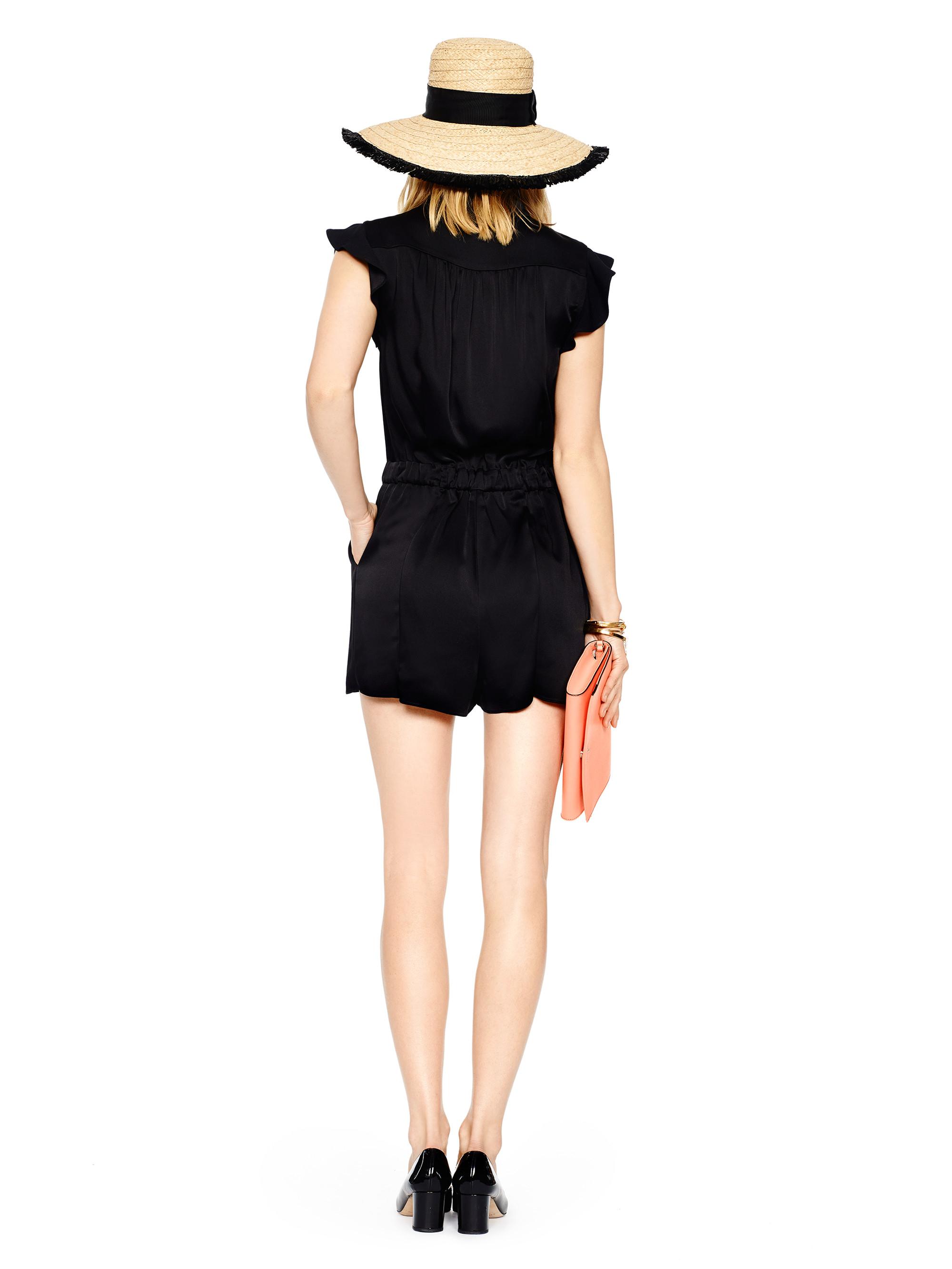 a6279de90b5 Lyst - Kate Spade Crepe Romper in Black