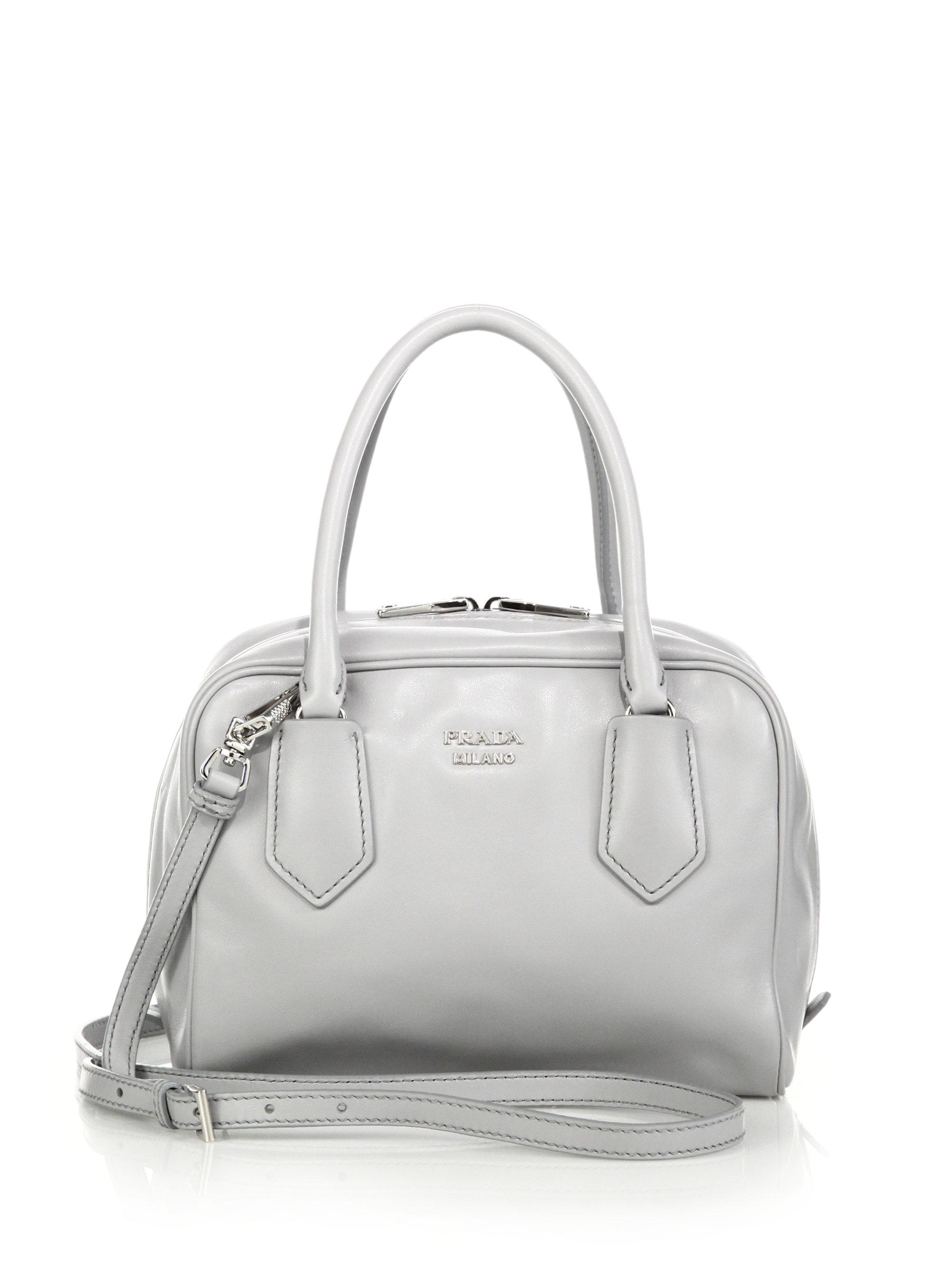 3eda63571c8 Prada Small Soft Calf Inside Bag in Gray - Lyst