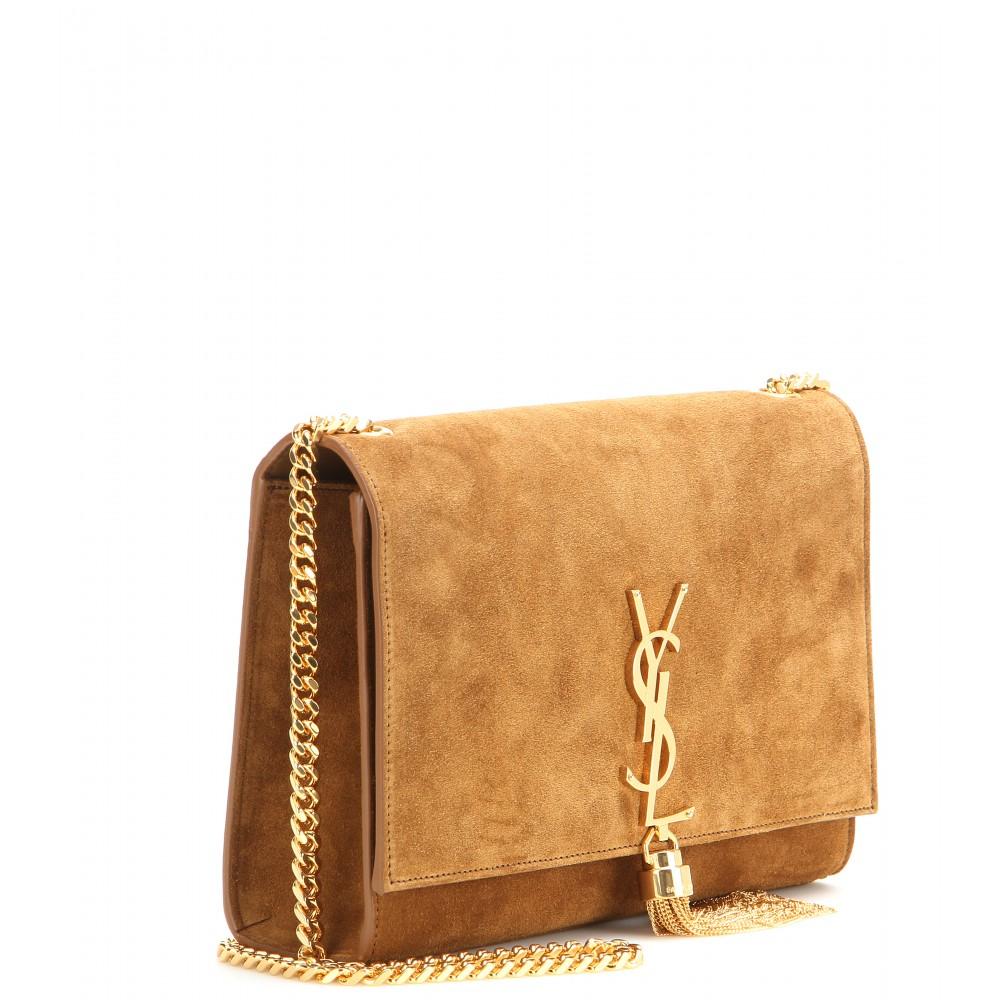 Saint laurent Classic Monogram Suede Shoulder Bag in Brown | Lyst