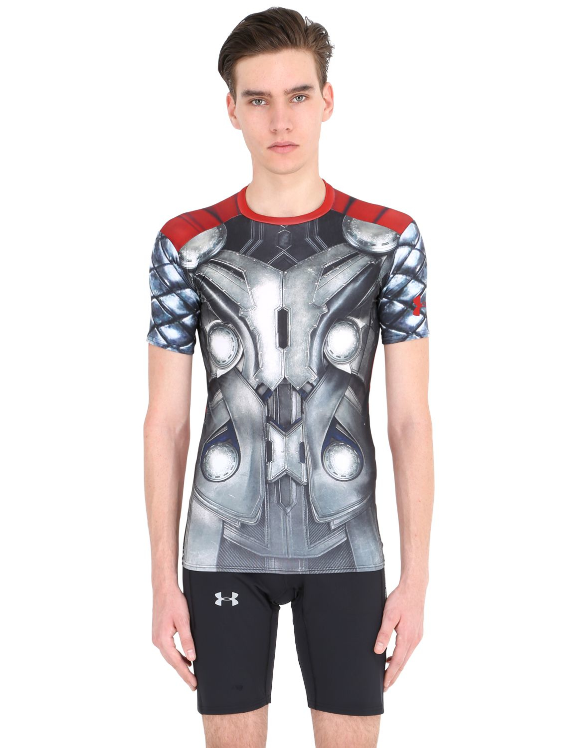 Under armour thor compression t shirt in gray for men lyst for Gray under armour shirt