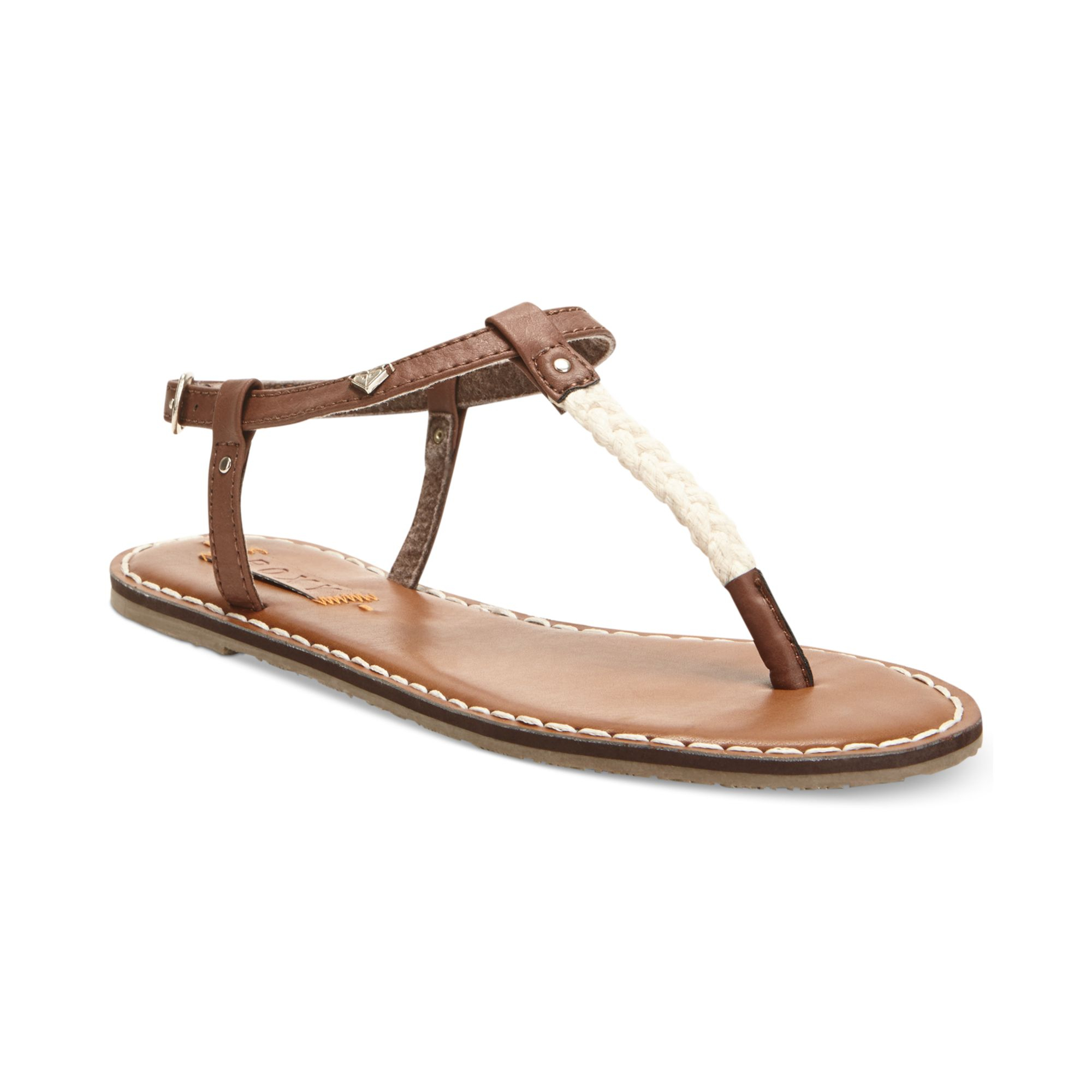 8a5dfcf74573 Lyst - Roxy Sparrow Tstrap Flat Thong Sandals in Brown