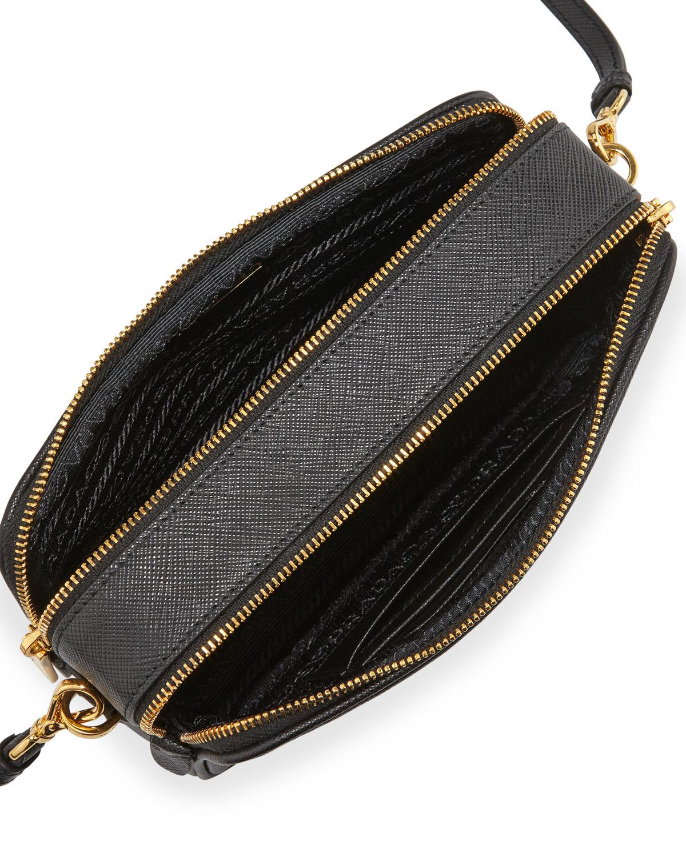 b9c850b62bd7 ... purchase lyst prada saffiano mini crossbody bag in black 14f1a 8d5d7