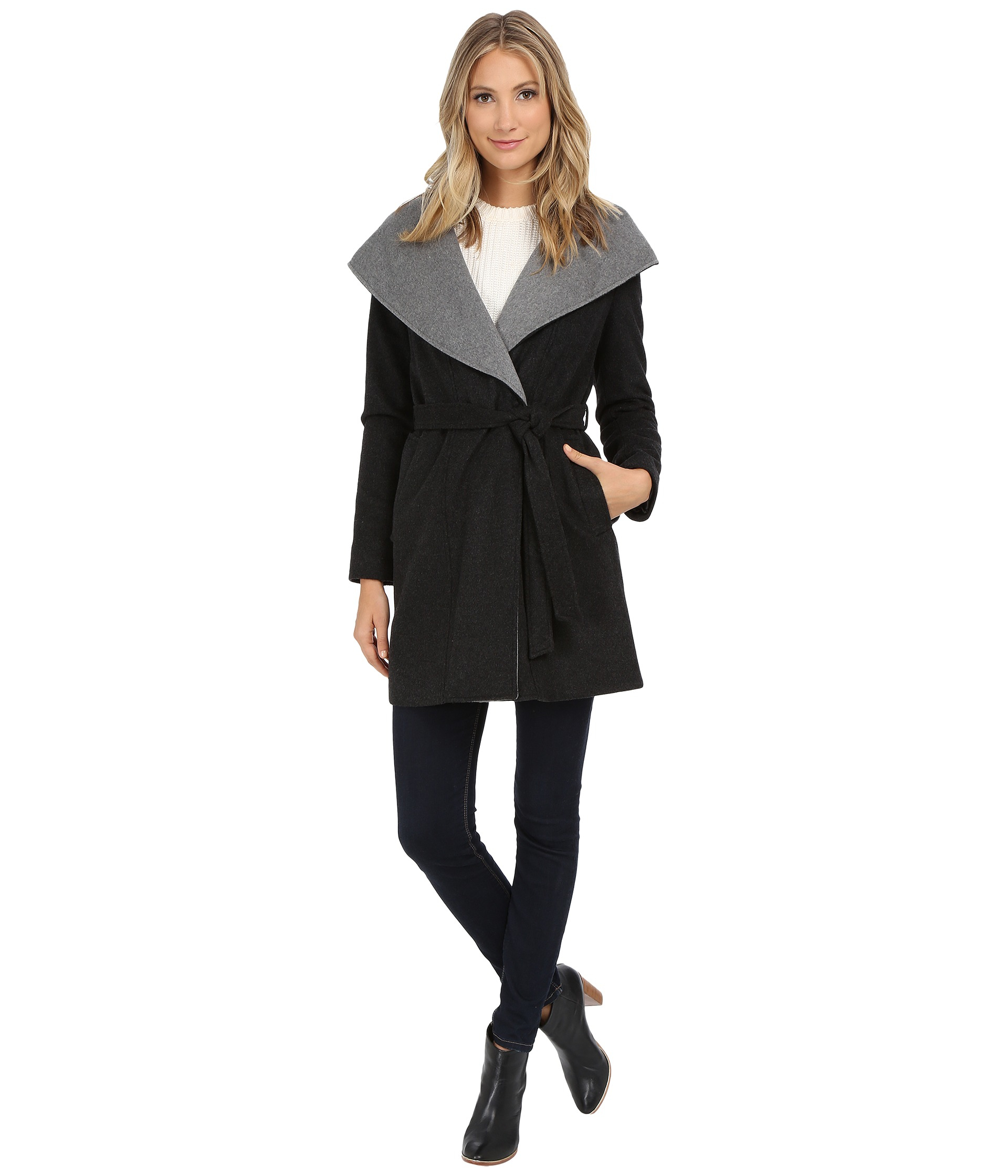 Dkny Oversized Hooded Shawl Collar Belted Wool 30350-y5 in Gray   Lyst