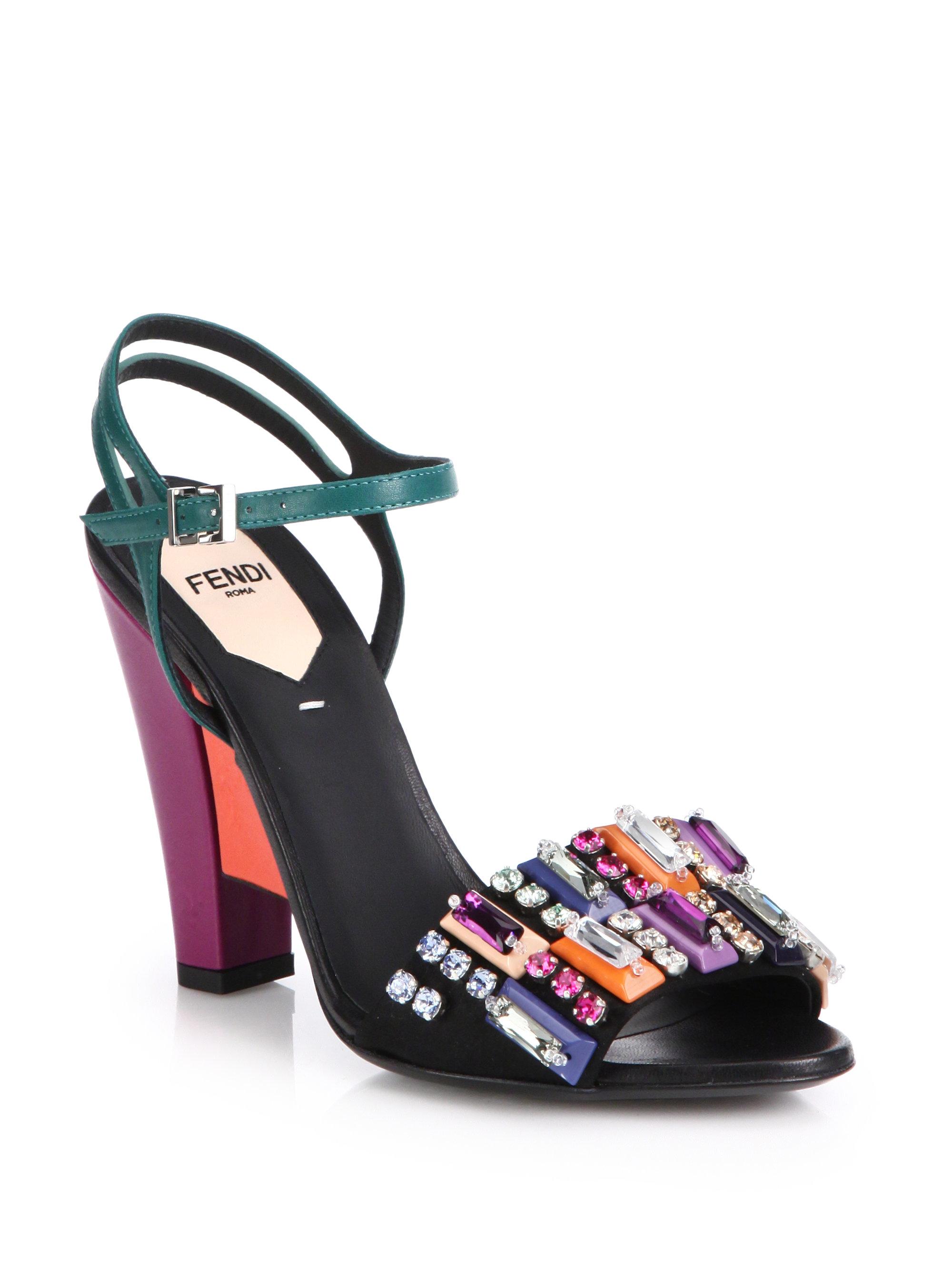 47763766ae4cc2 Lyst - Fendi Bejeweled Colorblock Leather Sandals