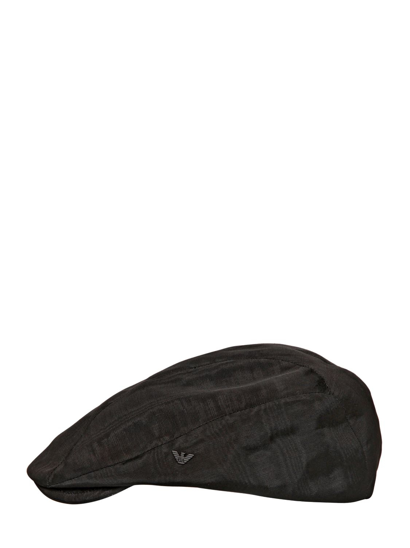 Lyst Emporio Armani Viscose Moire Flat Cap In Black For Men