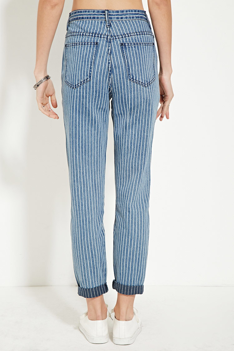 Forever 21 Striped Boyfriend Jeans in Blue | Lyst