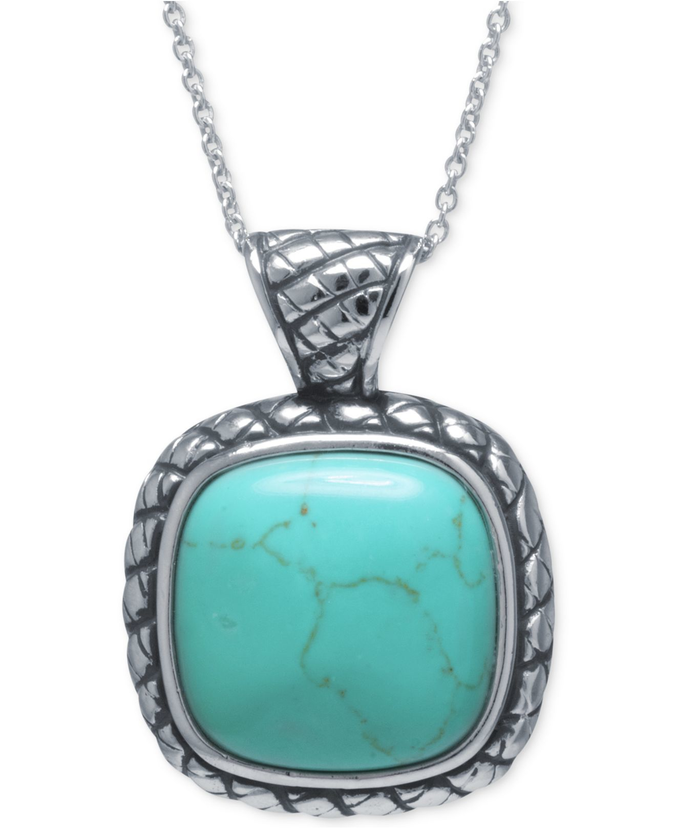 macy s manufactured turquoise square pendant necklace in