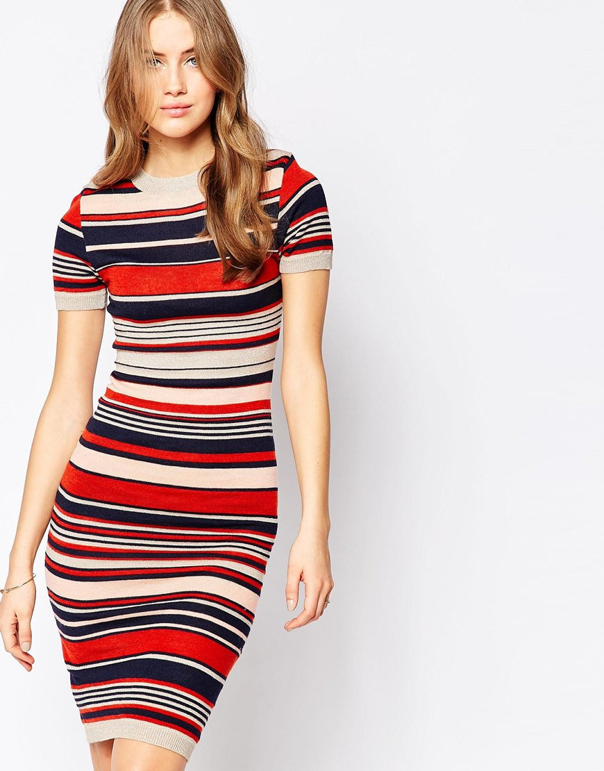 cec4c079a18 Club L Knitted Jumper Dress In Stripe With Rib Sleeves in Black - Lyst
